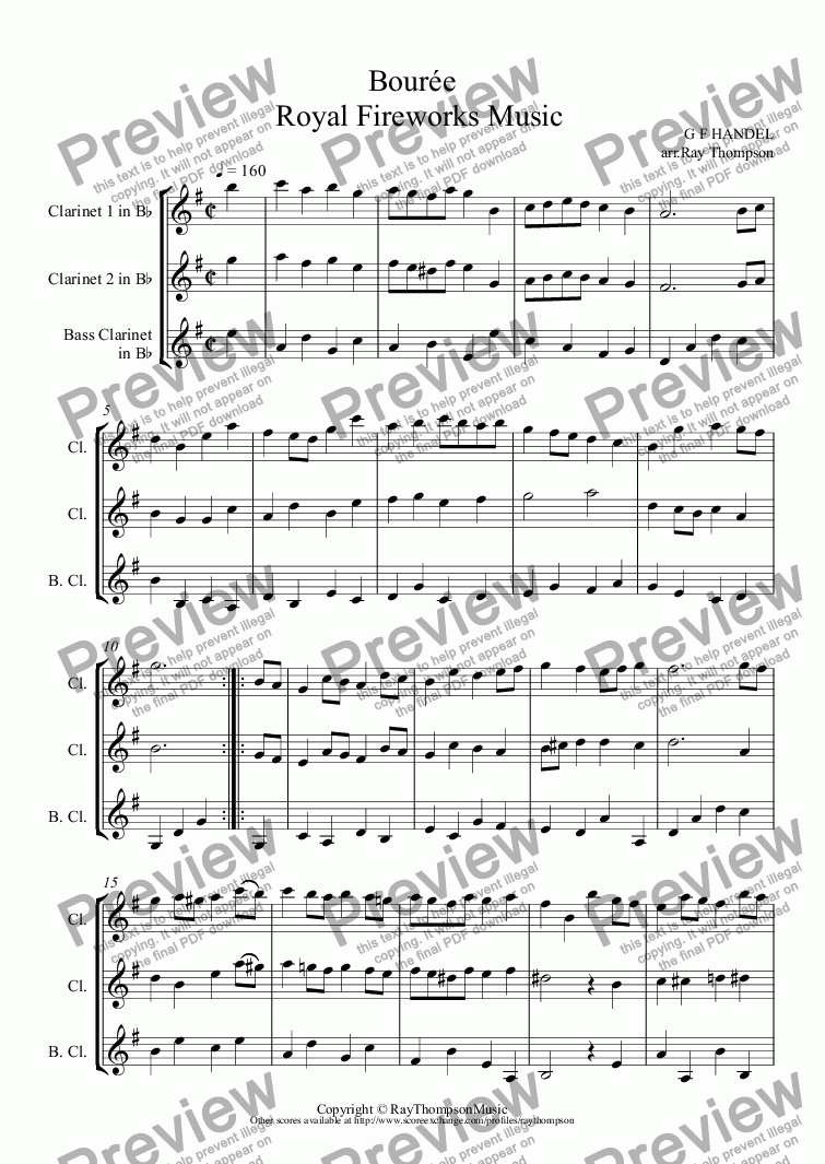 page one of Royal Fireworks Music: Bourée  (2 clarinets & bass clarinet)