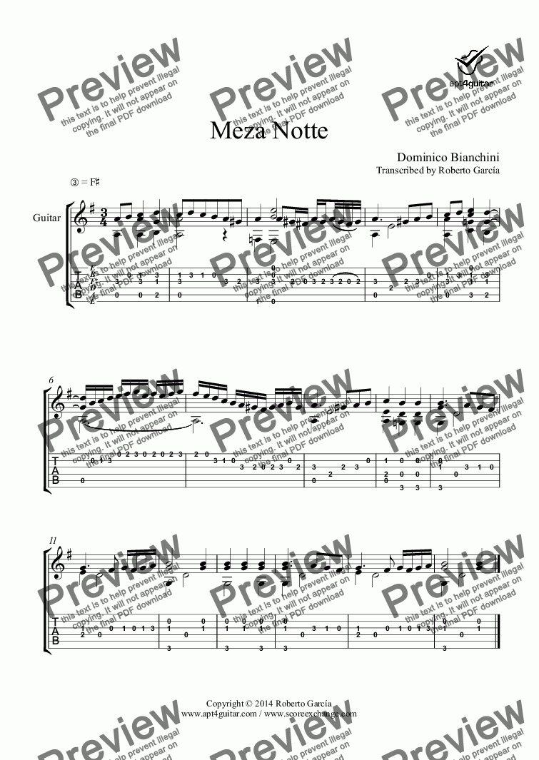 page one of Meza Notte for solo guitar