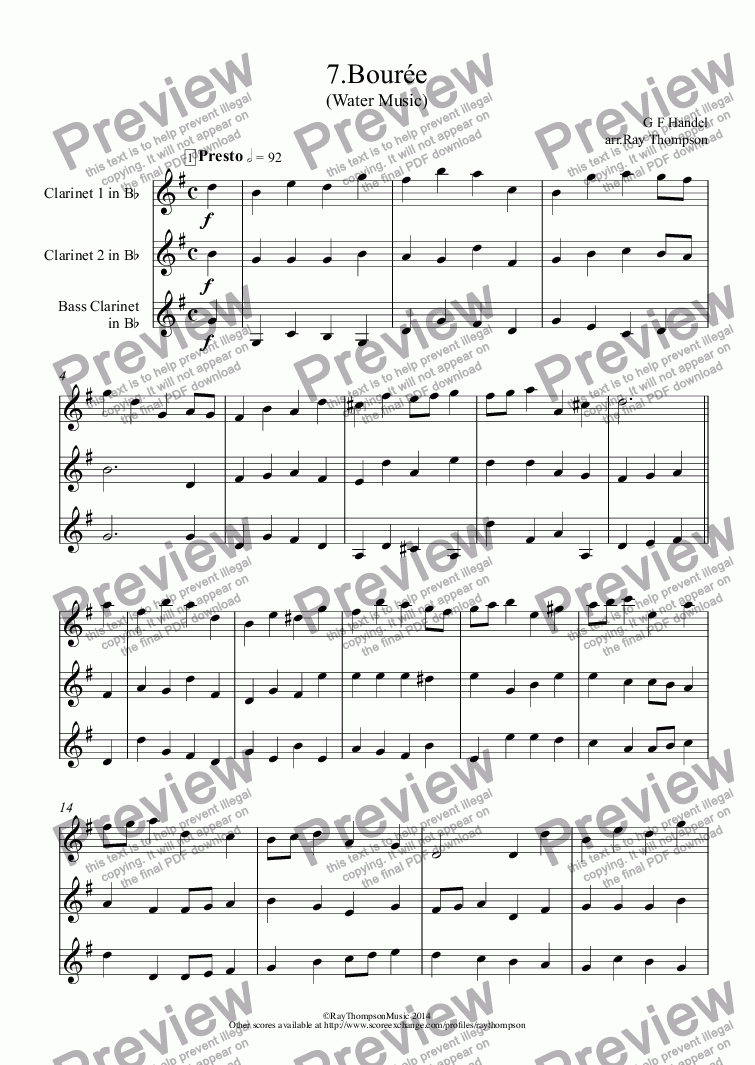 page one of Water Music: Bourée (2 clarinets & bass clarinet)ASALTTEXT