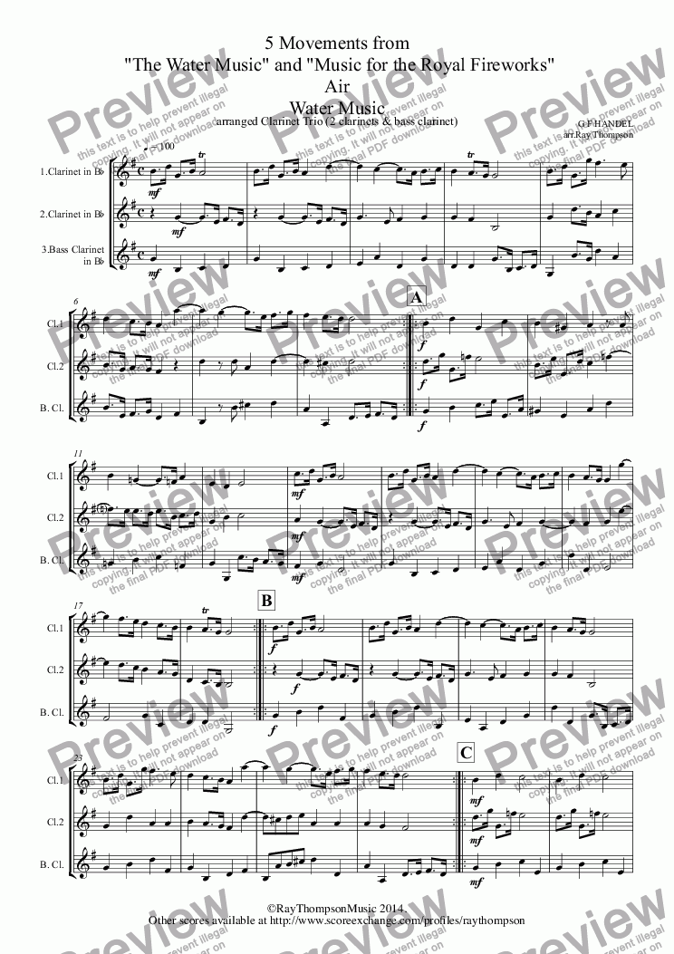 "page one of Handel: 5 Movements from ""The Water Music"" and ""Music for the Royal Fireworks"": Water Music: Air,Bourée,Menuet (Flute Suite) - Royal Fireworks Music: Bourée,Menuet & Trio (arranged 2 clarinets & bass clarinet)"