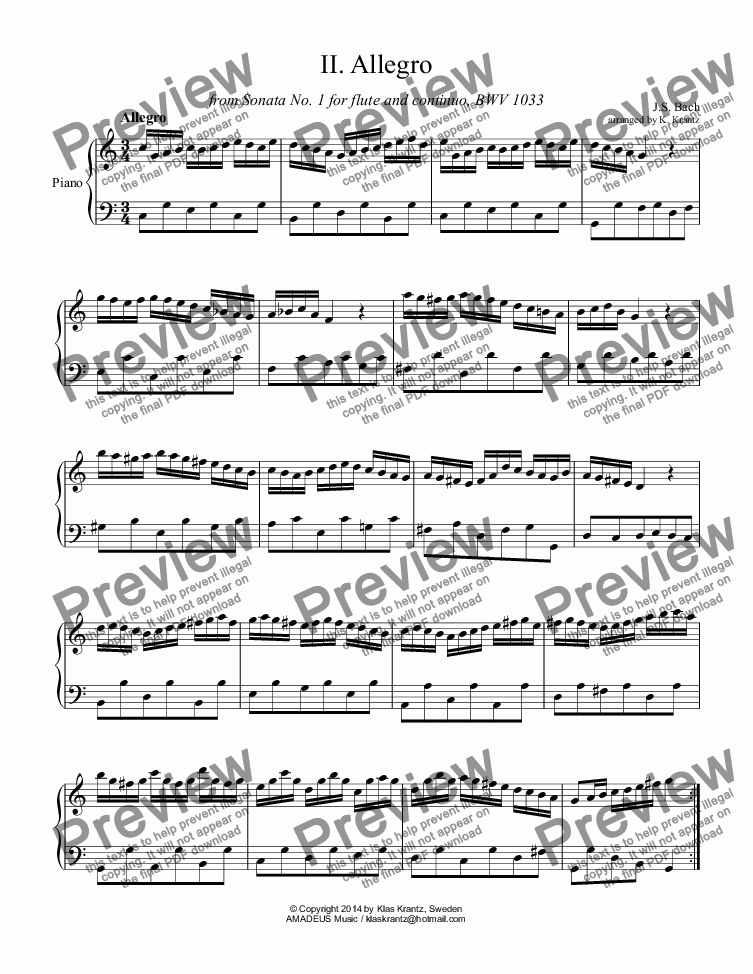 page one of Allegro and Adagio from Sonata No. 1 BWV 1033 for piano solo