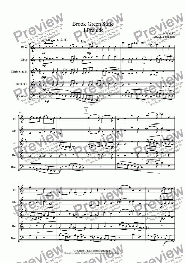 page one of Holst: Brook Green Suite: I. Prelude (arranged wind quintet)