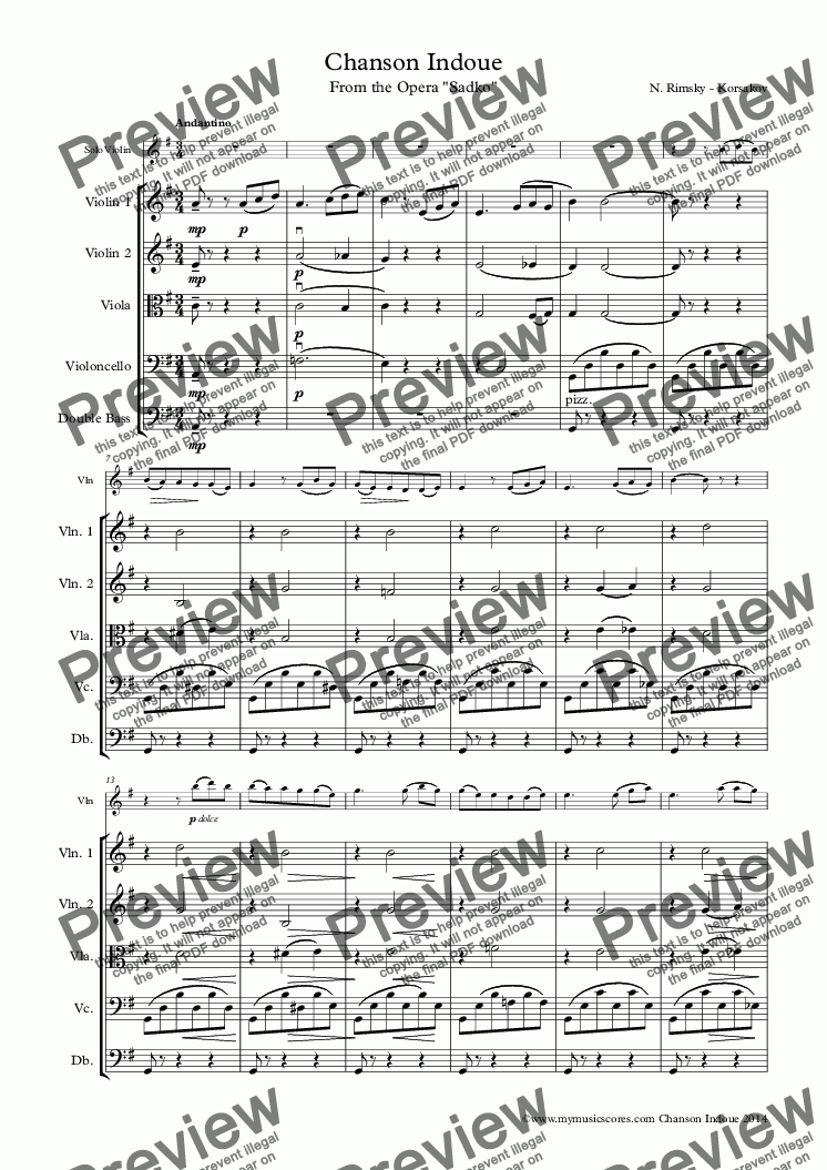 page one of Rimsky-Korsakov Chanson Indoue for Violin and String Orchestra