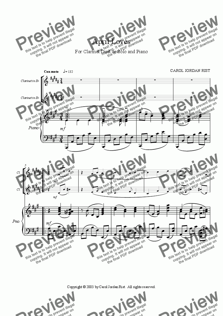 page one of April Loves (clarinets & piano)ASALTTEXT