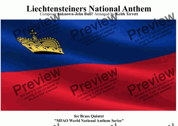 page one of Liechtensteiners National Anthem for Brass Quintet (MFAO World National Anthem Series)