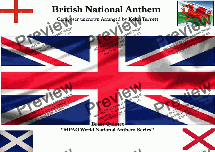 page one of Caymanian National Anthem (God Save our Gracious Queen) for Brass Quintet
