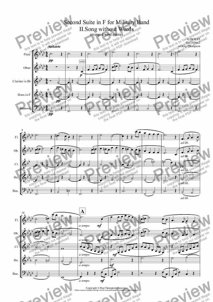 page one of Holst: Second Suite in F for Military Band II.Song without Words (arranged wind quintet)ASALTTEXT