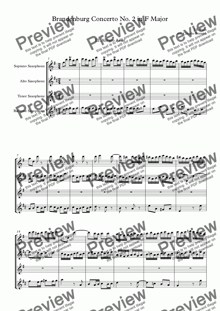 page one of Brandenburg Concerto No. 2 in F Major - III Movement