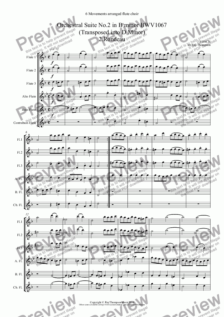 page one of Bach: 6 movements form Orchestral Suite No.2 in B minor BWV1067 (Transposed into D Minor) 2.Rondeau 3.Sarabande 4.Bourée I & II 5.Polonaise & Double 6.Menuet 7.Badinerie (Flute quintet: 3fl alto bass and opt.contrabass)