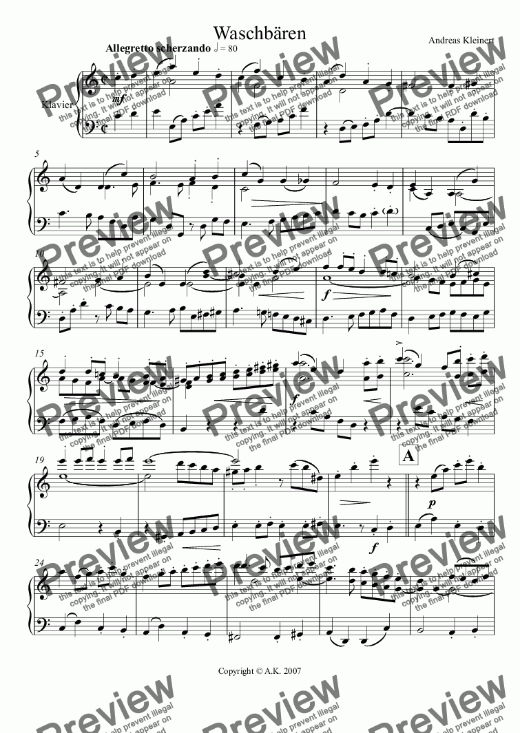 page one of Racoons (piano)