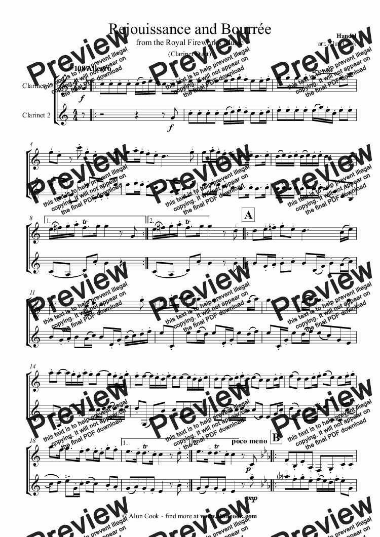 page one of Fireworks Music (Clarinet Duet)