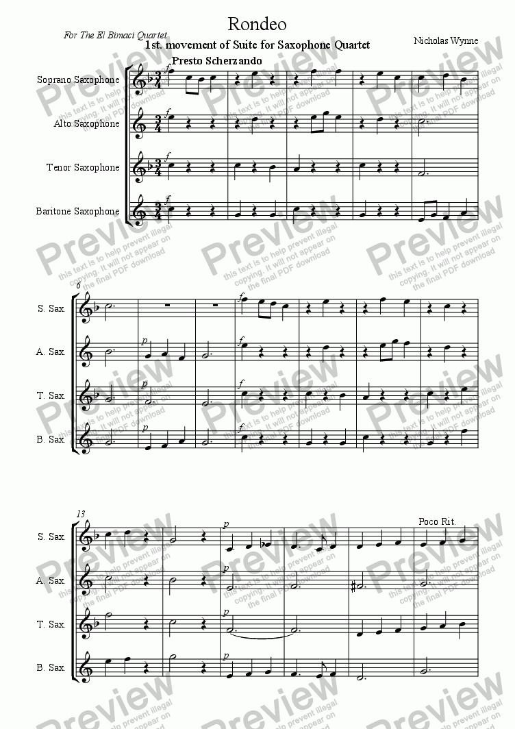 page one of Rondeo, 1st. Movement of Suite for Saxophone Quartet