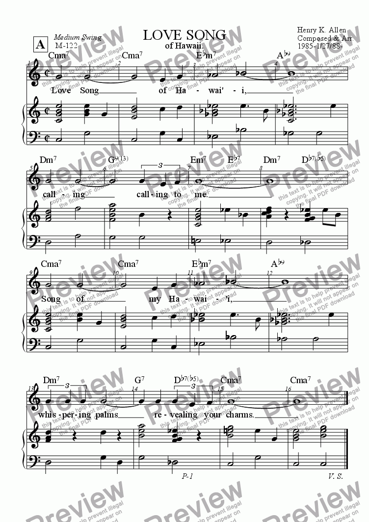 page one of Love Song Of Hawaii