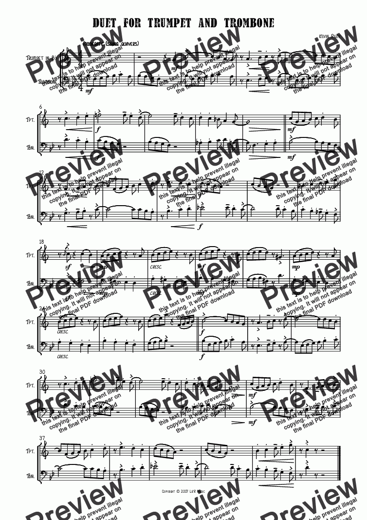page one of Duet for Trumpet and Trombone