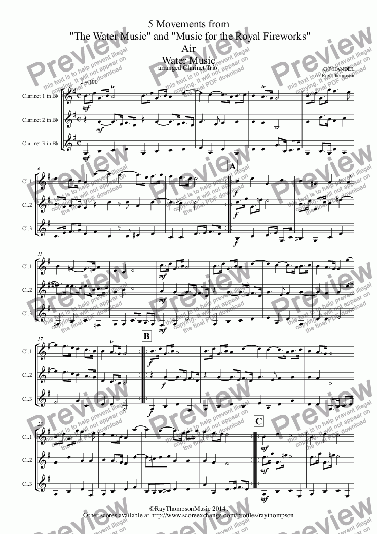 page one of Handel: 5 Movements from
