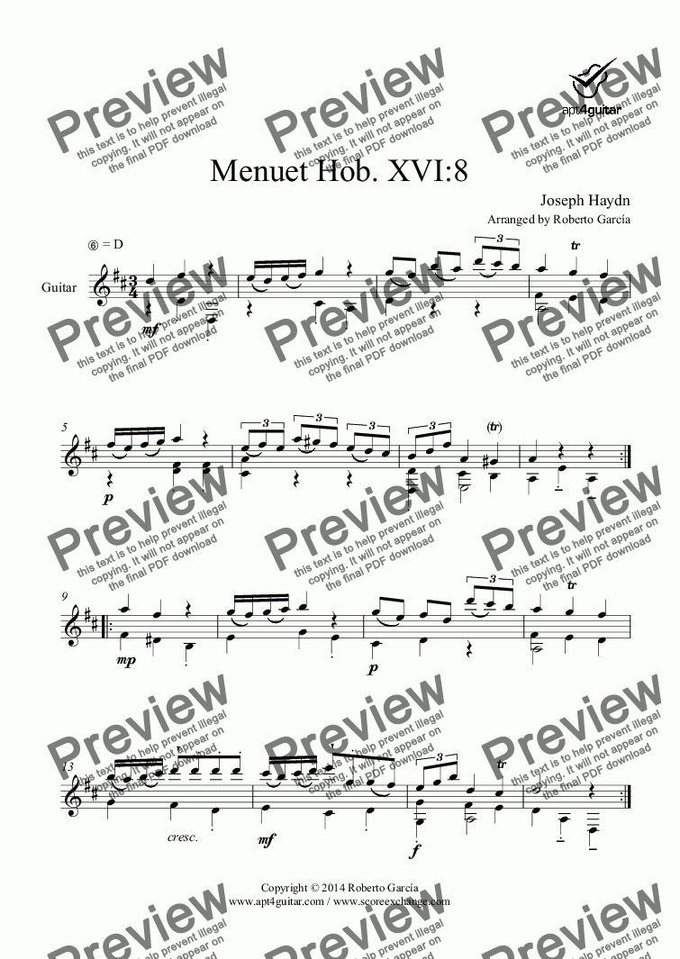 page one of Menuet Hob. XVI:8 for solo guitar