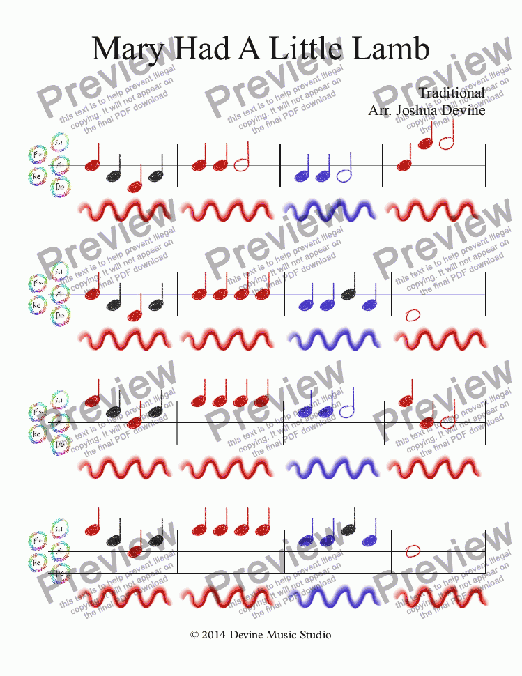 Mary Had A Little Lamb For Solo Instrument Piano By Traditional Arr Joshua Devine Sheet Music Pdf File To Download