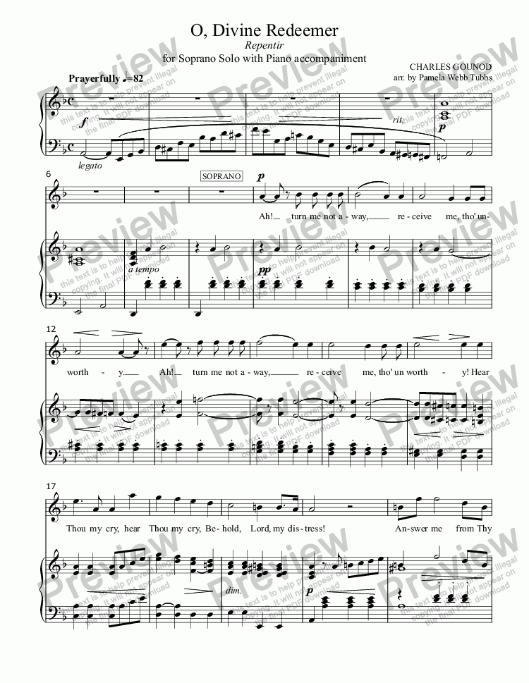 page one of O Divine Redeemer (GOUNOD) for Vocal Solo (Soprano) with Piano Accompaniment, arr. by Pamela Webb Tubbs