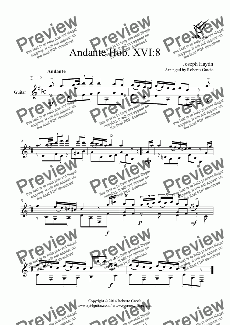page one of Andante Hob. XVI:8 for solo guitar
