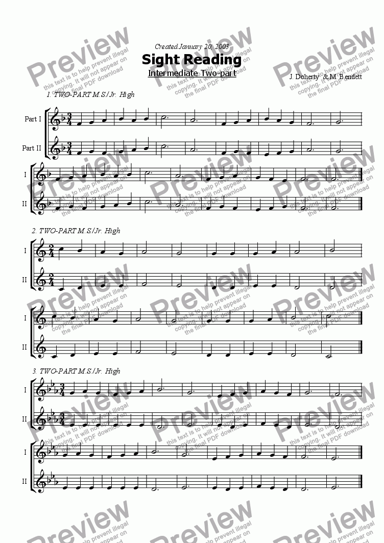 page one of 2pt Sight Reading Intermediate - 2ASALTTEXT