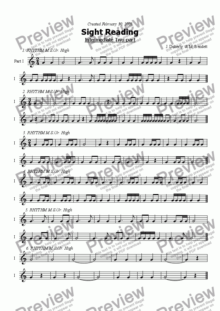 page one of 2pt Sight Reading Intermediate - 3ASALTTEXT