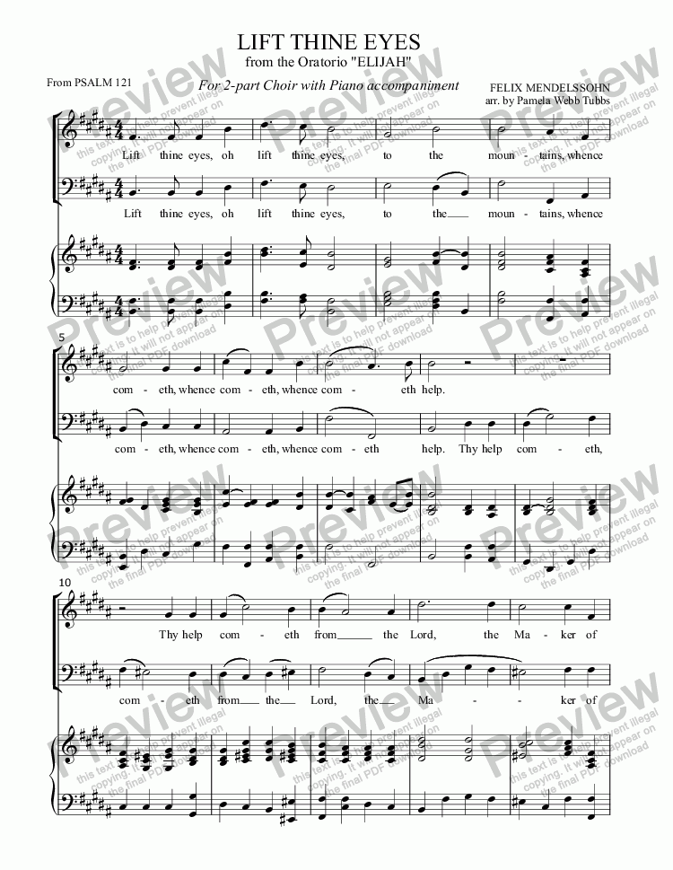 "page one of Lift Thine Eyes (MENDELSSOHN) Trio anthem from ""Elijah"" simplified for Vocal Duet or 2-part mixed voices with Piano accompaniment, arr. by Pamela Webb Tubbs"