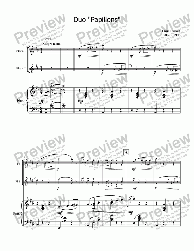 page one of Kronke, Butterfly  for two flutes