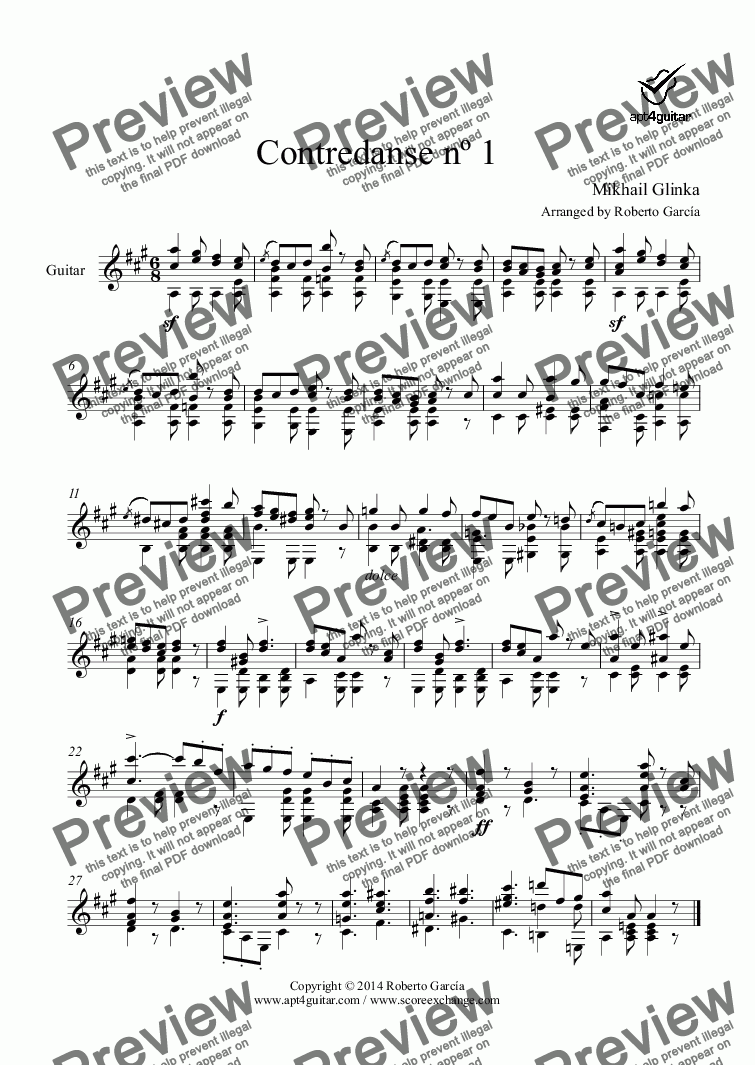 page one of Contredanse nº 1 for solo guitar