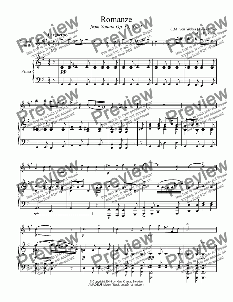 page one of Romanze for clarinet and pianoASALTTEXT