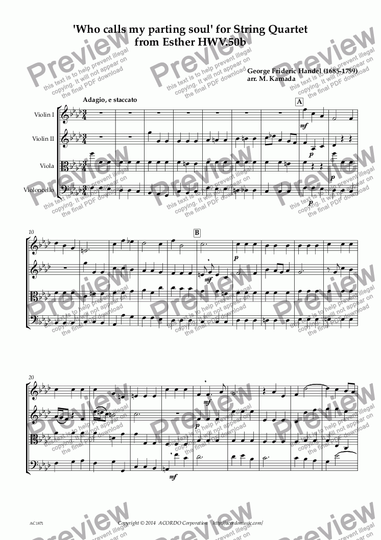 page one of 'Who calls my parting soul' for String Quartet from Esther HWV.50b