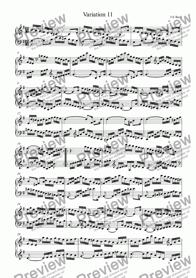 page one of J.S.Bach - Goldberg Variations 11