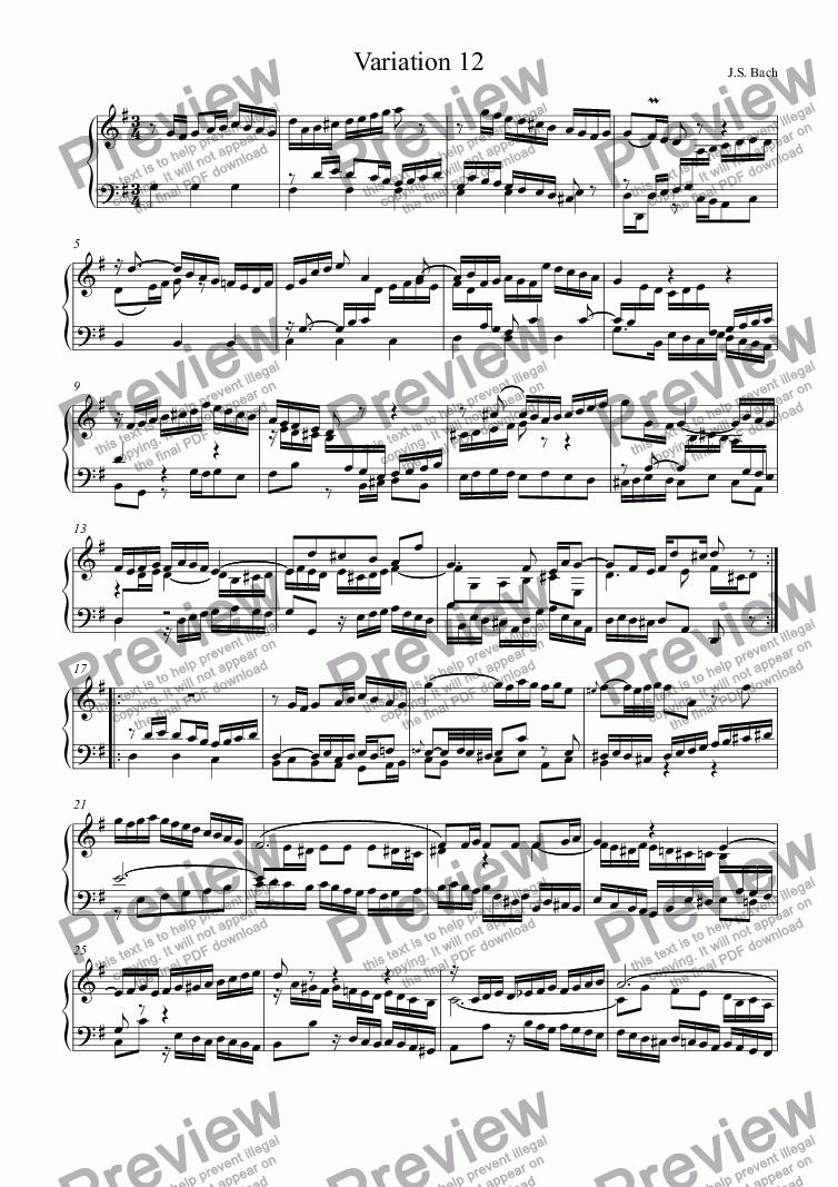 page one of J.S.Bach - Goldberg Variations 12