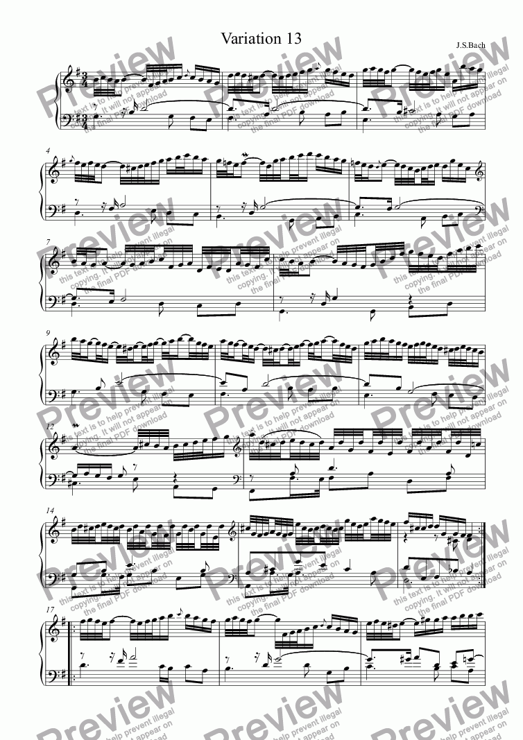 page one of J.S.Bach - Goldberg Variations 13