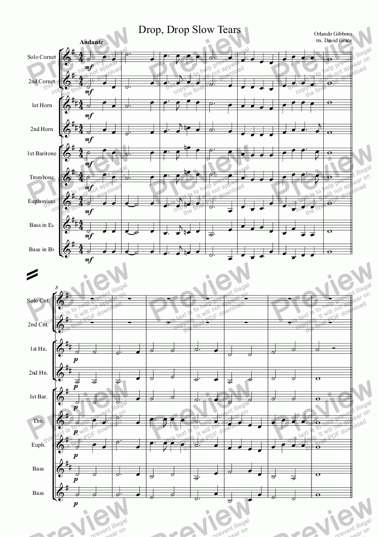 page one of Drop, Drop Slow Tears (Orlando Gibbons)