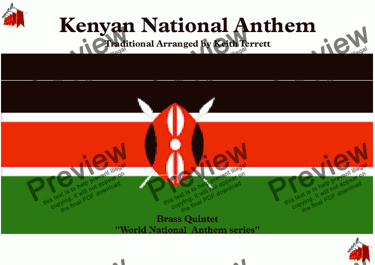 page one of Kenyan National Anthem (Ee Mungu Nguvu Yetu-Oh God of All Creation) for Brass Quintet