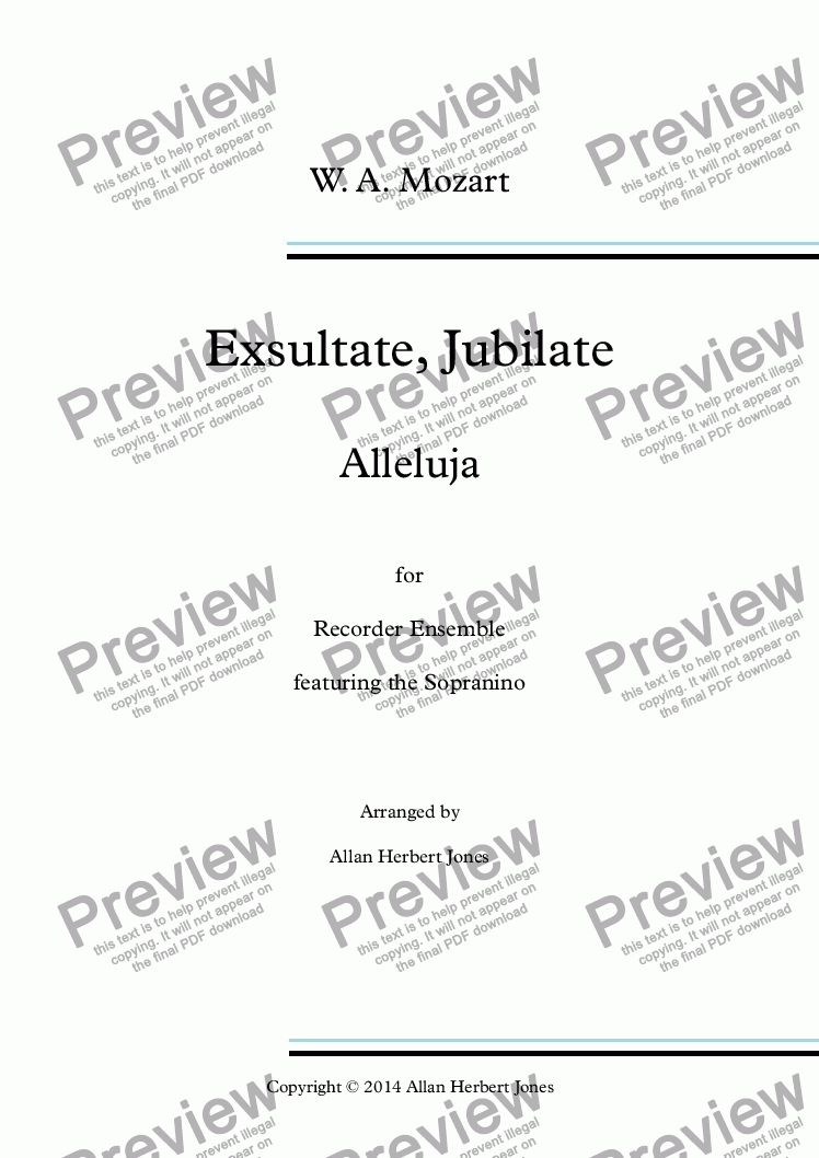 page one of Exsultate, Jubilate - Alleluja