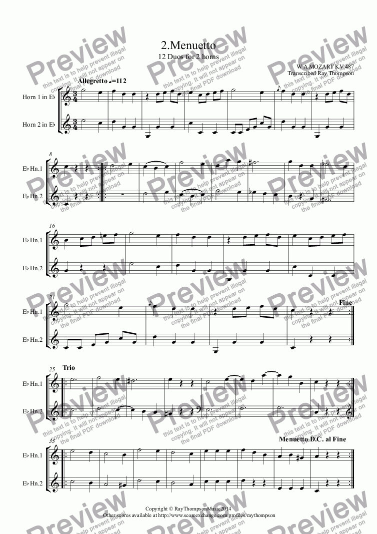 page one of Mozart: 12 Duets for Horn KV487: 2.Menuetto (French Horn Duet)