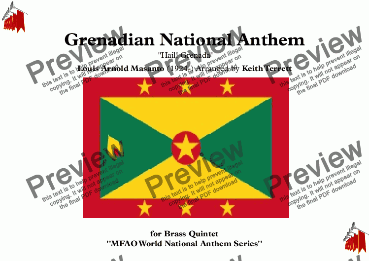 page one of Grenadian National Anthem (Hail! Grenada) for Brass Quintet (MFAO World National Anthem Series)