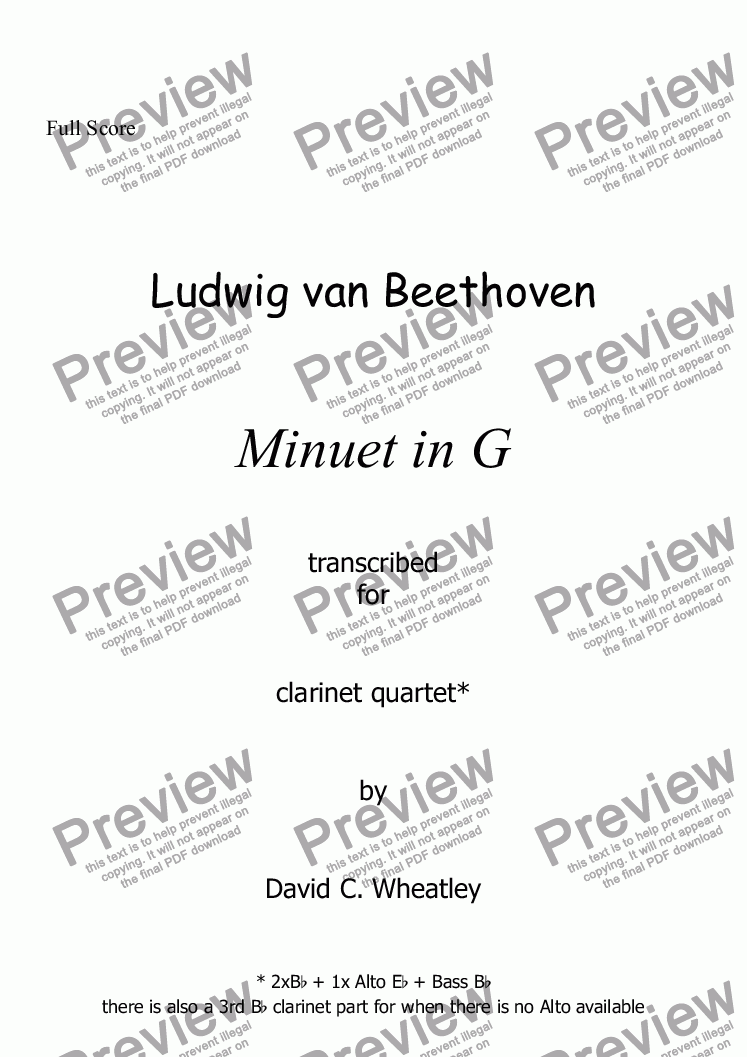 page one of Beethoven - Minuet in G Beethoven for clarinet quartet