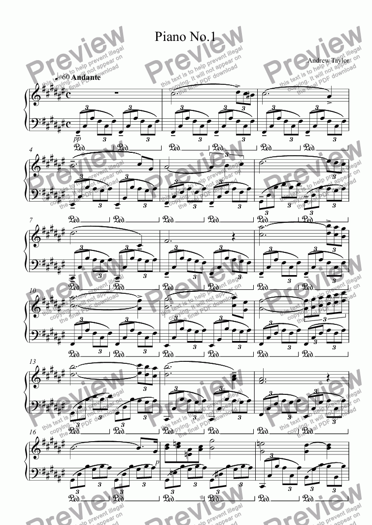 page one of Piano No.1