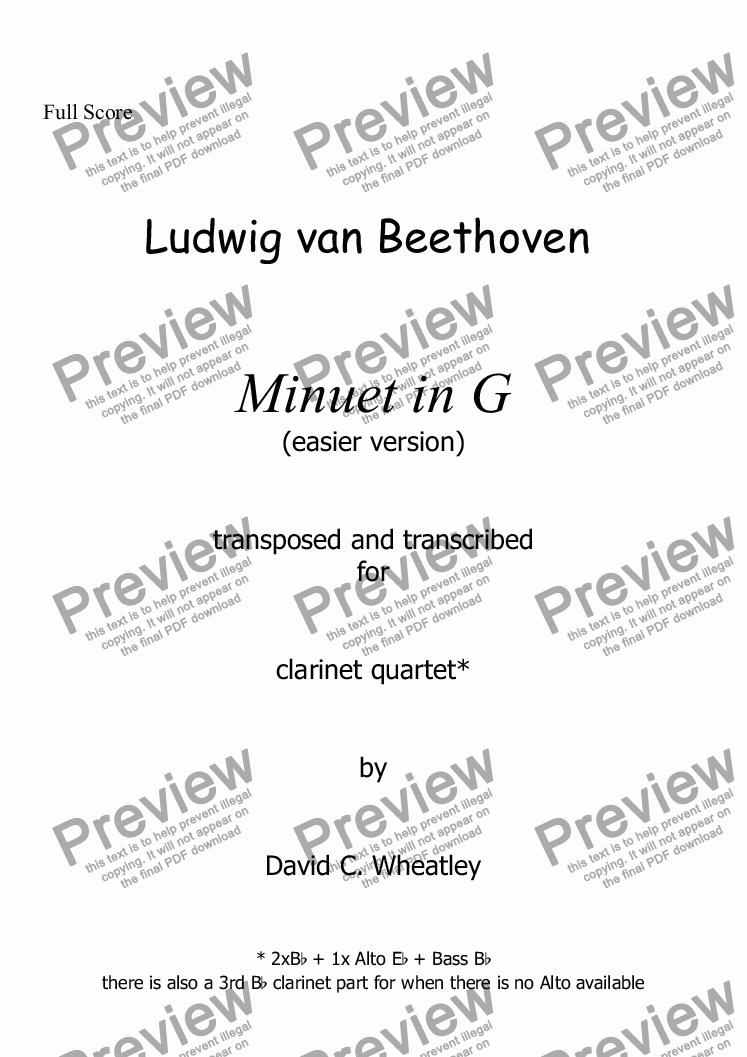 page one of Beethoven - Minuet in G (transposed - easier key) for clarinet quartet
