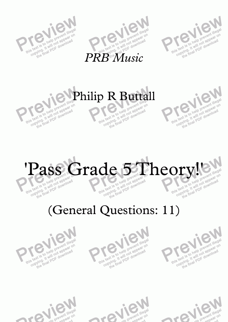 page one of Worksheet: 'Pass Grade 5 Theory!' - General Questions 11