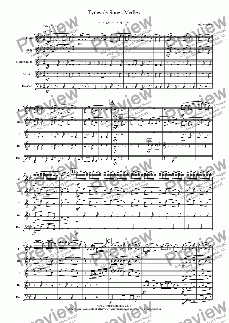 page one of Tyneside Songs Medley (includes Bobby Shaftoe, The Keel Row and The Blaydon Races) arranged wind quintet
