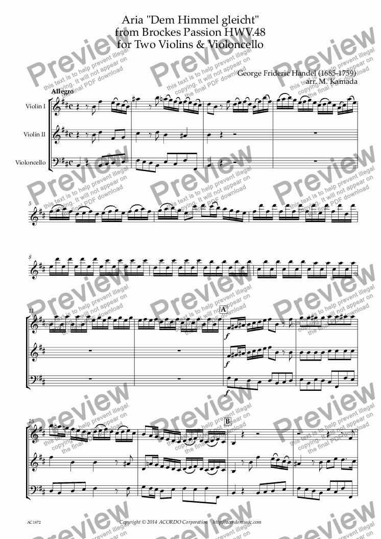 "page one of Aria ""Dem Himmel gleicht"" from Brockes Passion HWV.48 for Two Violins & Violoncello"
