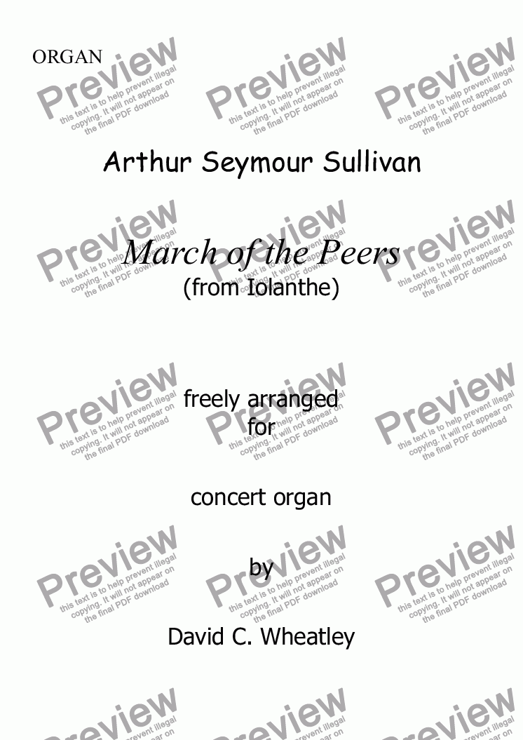 page one of Sullivan - March of the Peers (Iolanthe) for organ solo