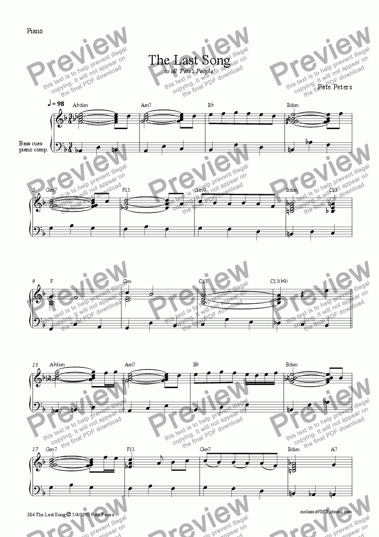 page one of The Last Song [easy piano solo]