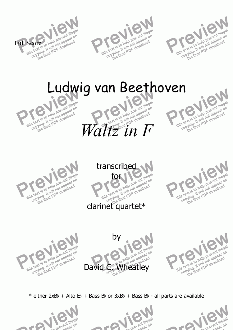 page one of Beethoven - Waltz in F for clarinet quartet