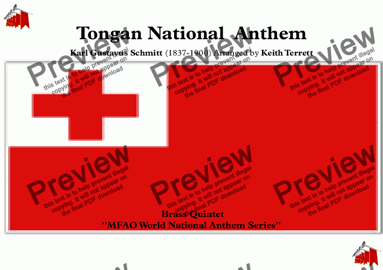 page one of Tongan National  Anthem ''Ko e fasi 'o e tu' o e 'Otu Tonga'' - ''The Song of the King of the Tongan Islands'' for Brass Quintet