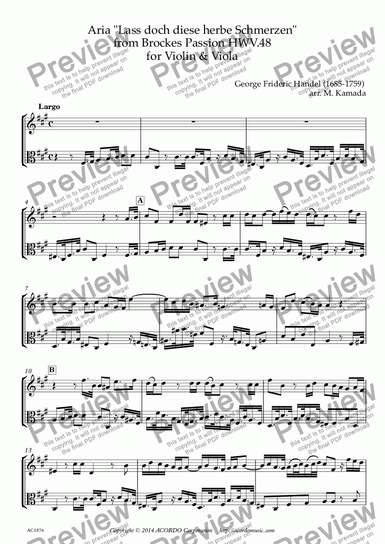 "page one of Aria ""Lass doch diese herbe Schmerzen"" from Brockes Passion HWV.48 for Violin & Viola"