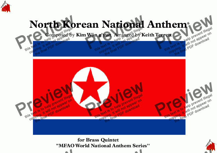 page one of North Korean National Anthem (Aegukka) for Brass Quintet (MFAO World National Anthem Series)